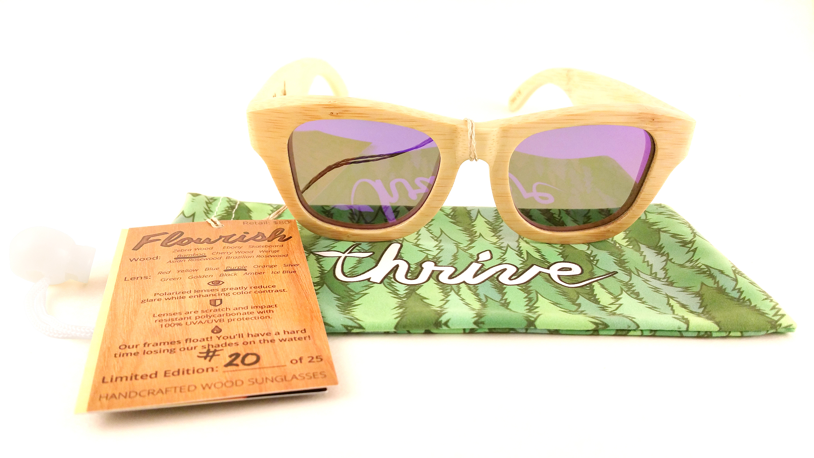 1b74ae20f6 Bamboo Frames - Purple Polarized Lenses - Thrive Shades
