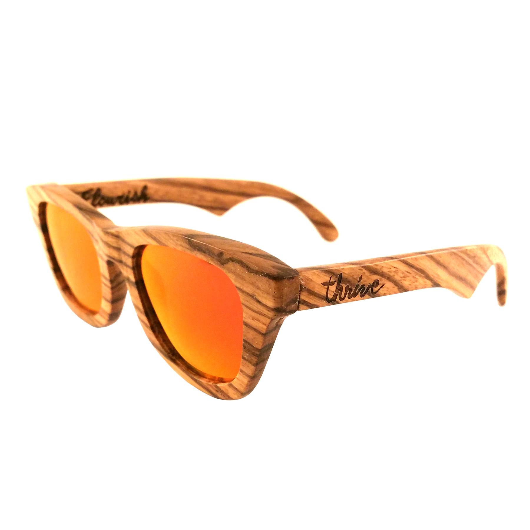Zebra Wood Frames - Red Polarized Lenses - Thrive Shades